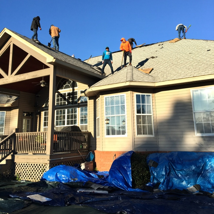Roofers at my house during Christmas